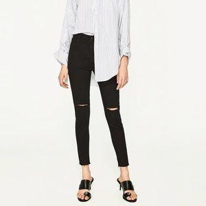 Zara High Rise Knee Rip Raw Hem Gray Skinny Jeans